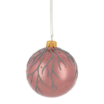 Branch & Dot Decorative Baubles - Set of 6 - Pearl/Blush Pink/Velvet Pink
