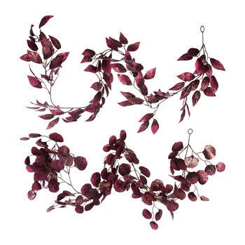 Glitter Leaf Garland - Set of 2 - Burgundy