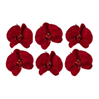 Velvet Orchid Clip On Decoration - Set of 6 - Red