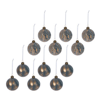 Abstract Decorative Bauble - Set of 12 - Blue