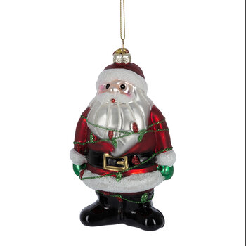 Santa Wrapped in Lights Tree Decoration
