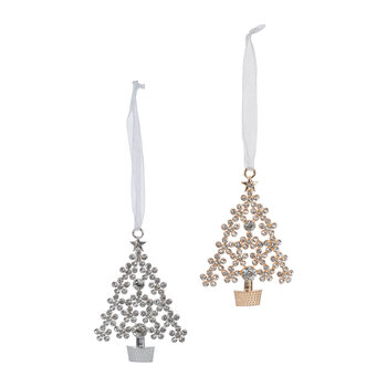 Decorative Tree Hanging Decorations - Set of 2 - Silver/Gold
