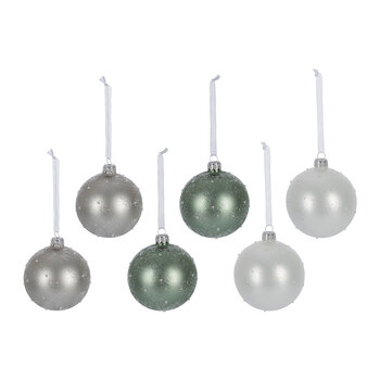 Glitter Dot Baubles - Set of 6 - White/Grey/Green