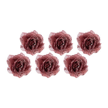 Glitter Rose Clip On Decoration - Set of 6 - Velvet Pink