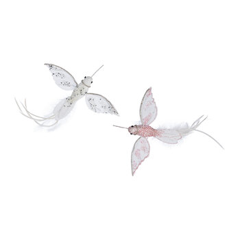 Hummingbird Clip Decoration - Set of 2 - White/Pink
