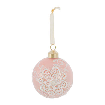 Lace & Pearl Baubles - Set of 12 - Velvet Pink/Blush Pink