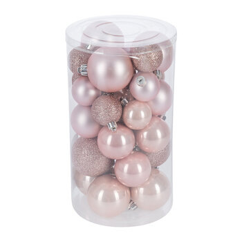 Set of 30 Assorted Baubles - Blush Pink