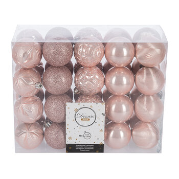 Set of 40 Assorted Baubles - Blush Pink
