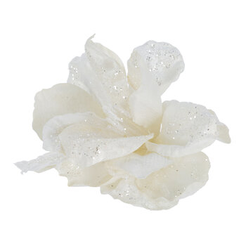 Velvet Amaryllis Clip On Decoration - White