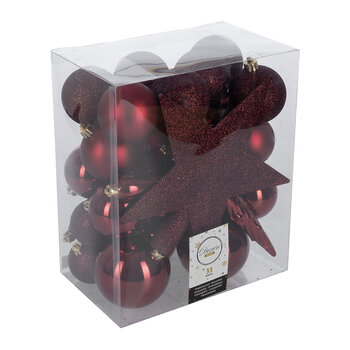 Set of 33 Assorted Baubles and Tree Topper - Oxblood