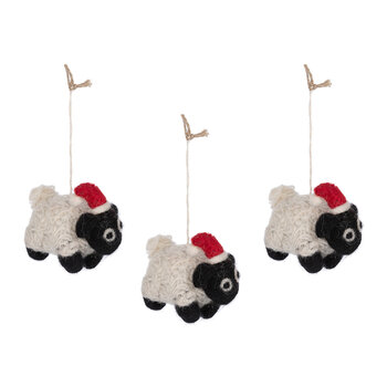Christmas Sheep Tree Decoration - Set of 3