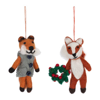 Freddy & Finley the Festive Fox Tree Decoration - Set of 2
