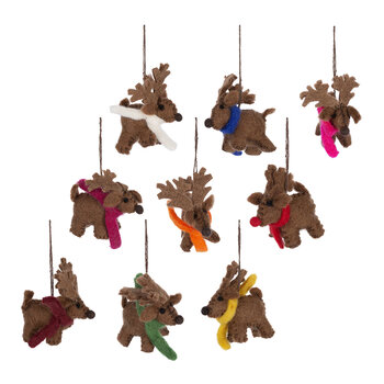Santa's Reindeer Tree Decoration - Set of 9