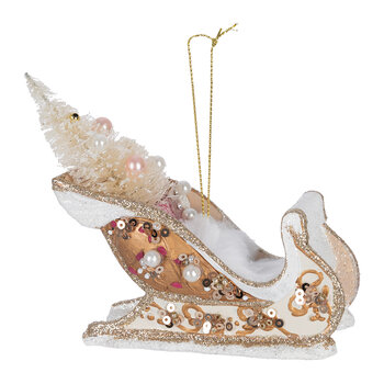 Sleigh With Tree Decorations - Set of 2 - Ivory/Gold