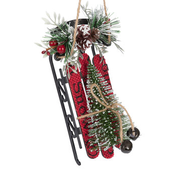 Tree on a Sled Tree Decoration - Set of 2