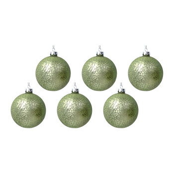 Antique Effect Glass Bauble - Set of 6 - Matt Green