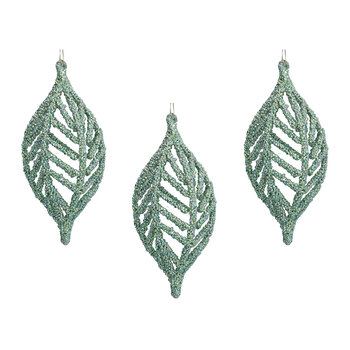Beaded Olive Tree Decoration - Set of 3 - Pale Green