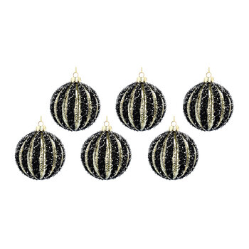 Beaded Ribbed Glass Bauble - Set of 6 - Black/Gold