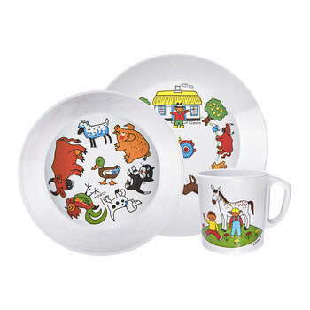 Kids Farm Dinner Set - White