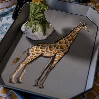 Hand-painted Iron Tray - Girafffe