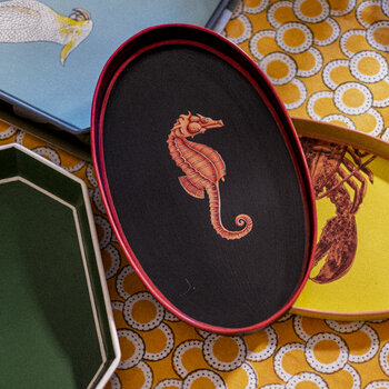 Hand-painted Iron Tray - Seahorse