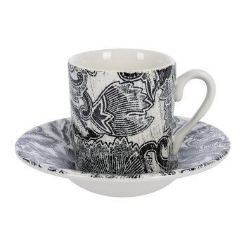 Faded Peony Espresso Cup and Saucer - Black