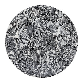Faded Peony Salad Plate - Black