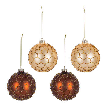 Glass Honeycomb Bauble - Set of 4 - Bronze/Gold