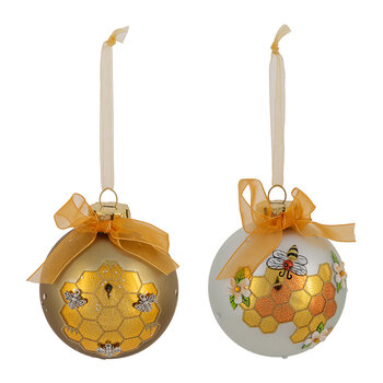 Gold & White Bee & Honeycomb Bauble - Set of 2