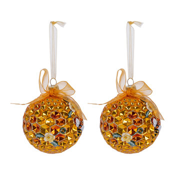 Gold Bee Pattern Bauble - Set of 2
