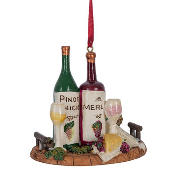 Wine & Cheese Tray Tree Ornament - Set of 3