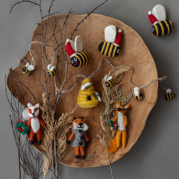 Christmas Bumble Bee Tree Decoration - Set of 3