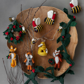 Fox with Christmas Pudding Tree Decoration