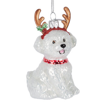 Bichon Frize with Antlers Tree Decoration
