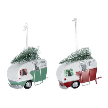 Camper Van with Tree Decoration - Set of 2