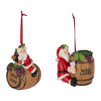 Santa with a Wine Barrel Tree Decoration - Set of 2