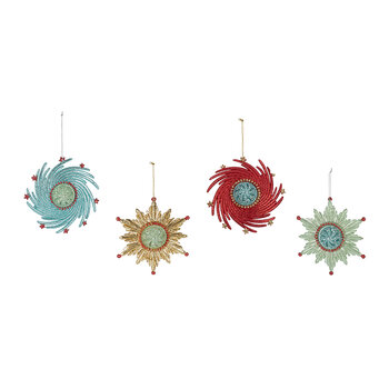 Atomic Snowflake Tree Decoration - Set of 4