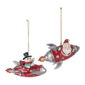 Santa & Snowman in Rockets Tree Decoration - Set of 2