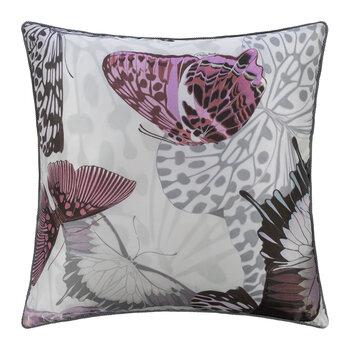 Fading Butterflies Silk Cushion - 40x40cm - Mauve