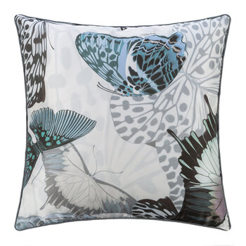 Fading Butterflies Silk Cushion - 40x40cm - Water
