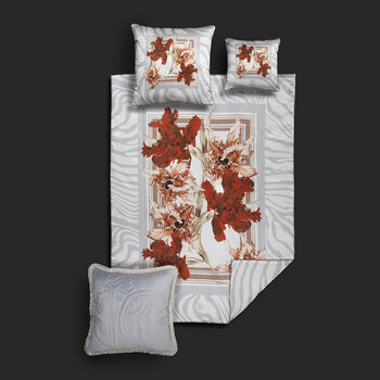 Zebra Bloom Bed Set - Grey
