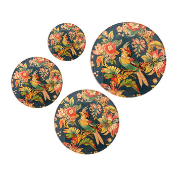 Small Glass Trivet - Set of 4 - Parrot