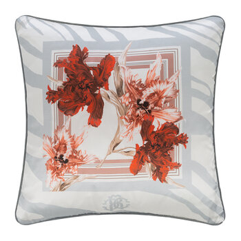 Zebra Bloom Silk Cushion - Grey - 40x40cm