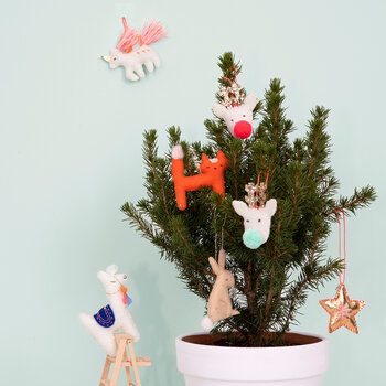 Pompom Reindeer Tree Decoration Set