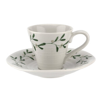 Ceramic Mistletoe Espresso Cup & Saucer - Set of 2