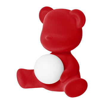 Lampe Velours Teddy Girl - Rouge