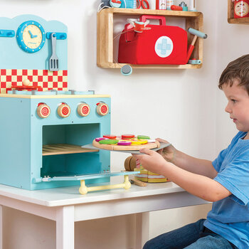 Oven & Hob Wooden Toy - Blue