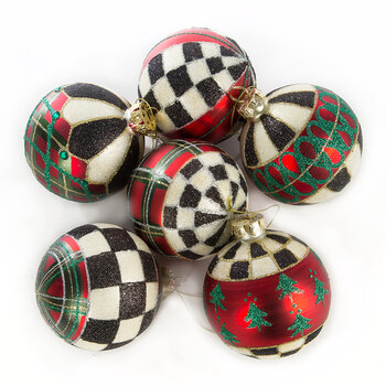 Tartan Glass Baubles - Set of 6