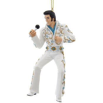 Elvis Tree Decoration - Set of 2 - White Suit with Microphone