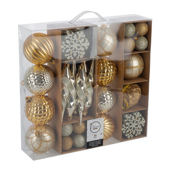 Set of 50 Assorted Baubles - Gold